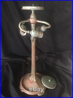 Odyssey Tiffany Studios Lamp Base, Leaded, Slag Glass Shade, Handel Lamp