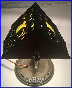 Old Bradley & Hubbard Piano Student Slag Glass Lamp Works Neoclassical