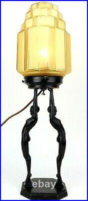 Original Art Deco FRANKART Double Nude Table Lamp SIGNED 1927 w SKYSCRAPER SHADE