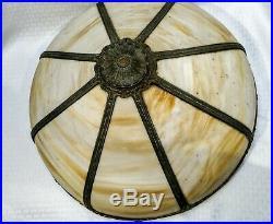 Original finish 20 1/2 Miller bent satin slag glass panel antique lamp shade