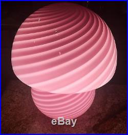 PAIR MID CENTURY Vetri MURANO Crystal Venini Swirl Pink Glass Mushroom LAMPS