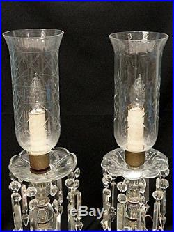 PAIR of ANTIQUE AMERICAN BRILLIANT CUT GLASS HURRICANE TABLE LAMP with PRISMS 21