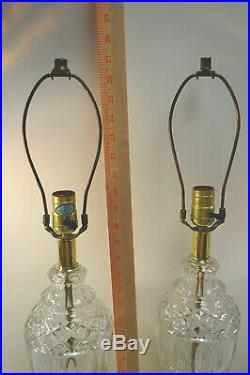 PAIR of Crystal Glass and Brass Electric Table Lamps 27 Tall Vintage L2727