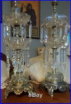 PAIR of Vintage Lead Crystal Cut Bouldier Lamps / 32 cut Glass pointed Prisms