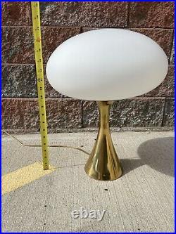 Pair 2 Mid Century Modern Brass with Mushroom White Glass Shade Laurel Lamp Mfg