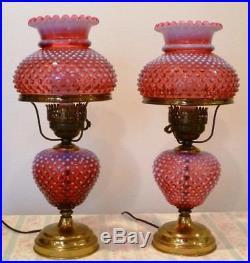 Pair Fenton Cranberry Opalescent Hobnail Table Lamps