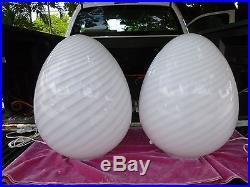 Pair Of Huge Futuristic Fab 70's Italian Maestri Murano White Glass Egg Lamps- P