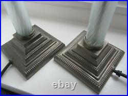 Pair Of Laura Ashley Vintage Lamp Bases In Antique Nickel/glass Stem 39 Cms High