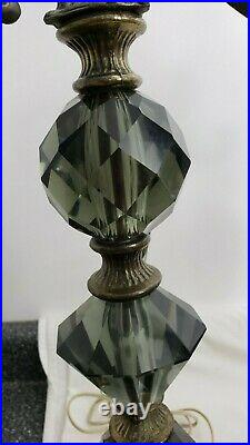 Pair Vintage Rare Hollywood Regency MCM Table Lamps With Smoke Glass Orbs