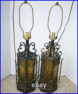 Pair Vintage Spanish Revival Table Lamps Iron Amber Glass Panel Scrolls Gothic