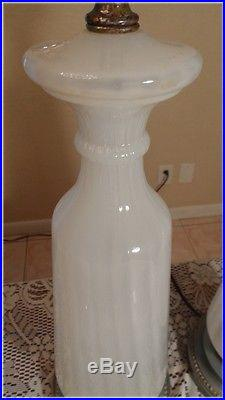 Pair Vintage White Murano Ribbed Glass Table Lamps