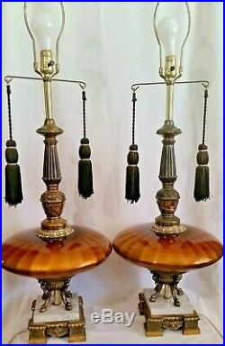Pair Vtg 70s Table Lamps Amber Glass Saucer Marble Hollywood Regency Style Base
