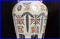 Pair of Bohemian Czech Light Blue Cased Glass Hand Painted Flowers Table Lamps
