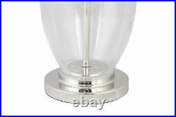 Pair of Contemporary 55cm Glass & Chrome Table Lamp Bedside Grey Linen Shades