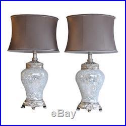 Pair of Large Table Lamps 79cm Silver Sparkle Mosaic Base Taupe Fabric Shade