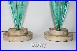 Pair of Mid Century Murano Glass Venetian Aqua Lamps