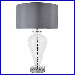 Pair of Modern Clear Glass Bedside Table Lamps Light with Grey Fabric Shades