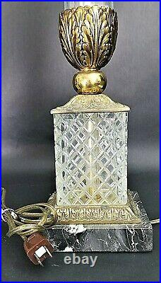 Pair of Neoclassical Brass and Cut Glass/Crystal with Marble Bases Lamps