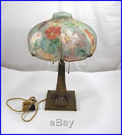 PairPoint Hand Painted Glass Puffy Floral 2 Light Table Lamp Brass 21 3086
