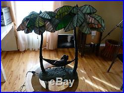 Palm Tree Hammock Lead Stained Glass & Bronze lamp Rare one of a kind hand made