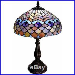 Peacock Scaled Light 18 H Stained Glass Table Lamp Lamps NEW