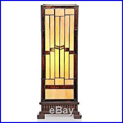 Pillar Table Lamp 1 Light Accent Mission Arts Crafts Style Stained Art Glass