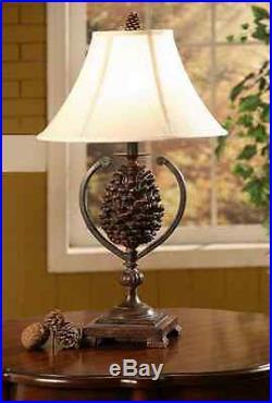 Pine Creek Table Lamp Pinecone Rustic Log Cabin Lake Lodge Decor Pine Cone