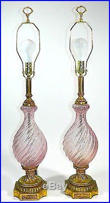 Pink Murano Glass Lamp Pair