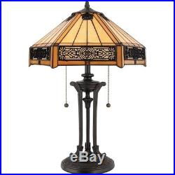 Quoizel 2 Light Indus Tiffany Table Lamp in Vintage Bronze TF6669VB
