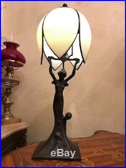 RARE Antique Lamp Woman Minerva 2 children BEAUTIFUL GLASS