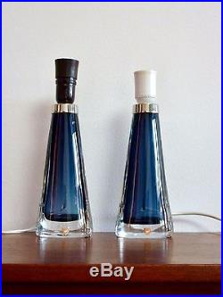 RARE Blue Mid Century Modern CARL FAGERLUND for ORREFORS Glass Table Lamps