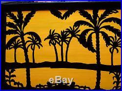 RARE Bradley & Hubbard Oasis Tropical Sunset Slag Glass Panel Lamp Handel Era