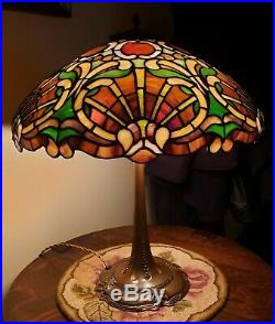 RARE Duffner & Kimberly Arts & Crafts Shell Form Leaded Slag Stained Glass Lamp