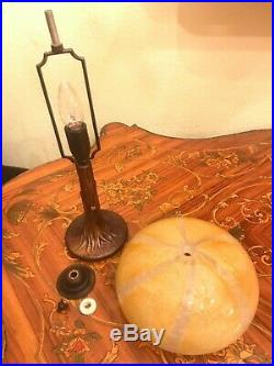 RARE Italian Elegant Art Nouveau Brass Glass Table Lamp