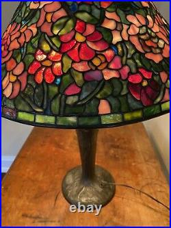 RARE Signed A. Hart Leaded Glass Floral Shade WithSigned Handel Bronze Base