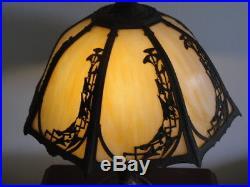 Rainaud Art Nouveau 8 Panel Slag Glass Lamp Signed