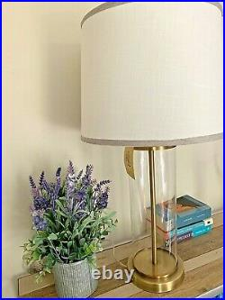Ralph Lauren Payton Glass Polished Brass Tube Cylinder Table Lamp Gold Signed