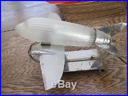 Rare 1930's original art deco style DC 3 airplane glass & Chrome lamp-works