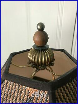 Rare-46 TallMacKenzie-Childs Lighthouse Table Lamp + Glass Bead Fringe Shade