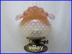 Rare Antique Matching Art Glass Gone With The Wind Table Lamp In Oil