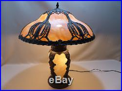 Rare Antique Slag Glass Panel Art Nouveau Lamp with Lighted Base Handel B&H Era
