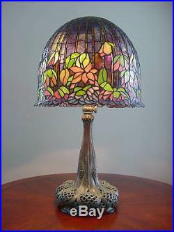 Rare Stained Glass Flowering Lotus Shade/table Lamp-odyssey ...