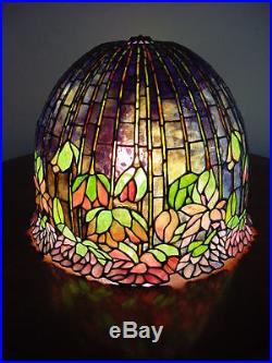 Rare Stained Glass Flowering Lotus Shade/table Lamp-odyssey Perforated Base