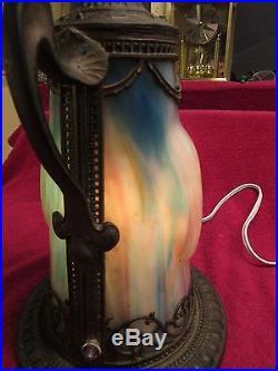 Rare Vintage Antique Art Nouveau Metal Table Lamp Lighted Base Slag Glass Panels