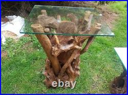Reclaimed teak root hand finished table solid teak tall lamp table glass topped