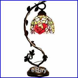 Red Rose Tiffany Style Table Lamp Bedroom Living Room Light Stained Glass Desk