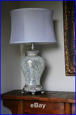 Regency Large Table Lamp 79cm Silver Sparkle Mosaic Base Fabric White Shade