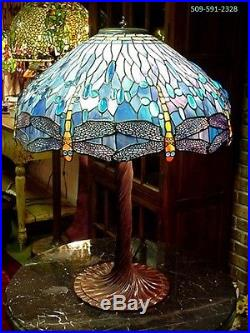 Reproduction Tiffany Style Blue Dragonfly Stained Glass Table Lamp