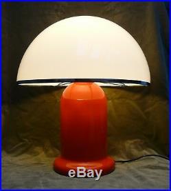 Retro Guzzini Style Orange Tangerine Mushroom Plastic Shade 1970 Table Lamp