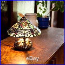 River Of Goods 10-inch Tiffany Style Stained Glass Mini Dragonfly Table Lamp